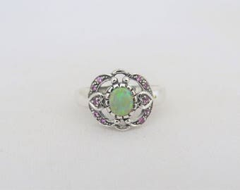 Vintage Sterling Silver Green Opal & Pink Sapphire Ring Size 8