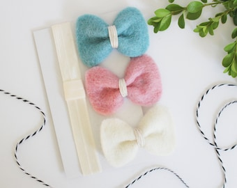 Wool felt bows, felt bow headband, baby hair clips, girl hair clips, unique felt bows