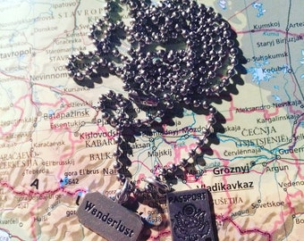 World travel - passport & wanderlust- necklace - travel gift - globetrotter - explore - adventure!