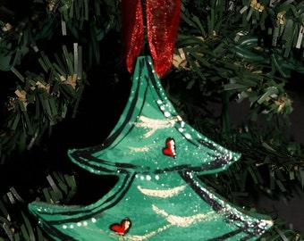 Christmas Hand Painted Wood Ornament- Christmas Tree Ornament