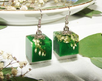 Green Square Earrings Resin Jewelry, Real Plants Earrings Green Modern Cube, Art Earrings Gift Ideas For Women, Earrings Inspirational Gift