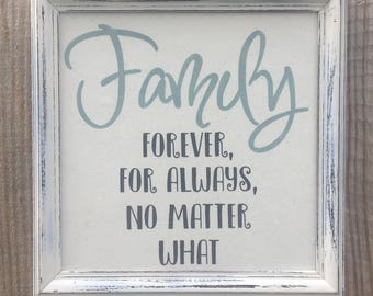 Family forever for always,Family framed quote,Family for always,Family quote,wall decor,fun family saying,gallery wall art