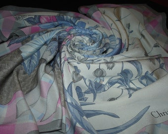 CHRISTIAN DIOR silk scarf pink / PROMOTION! Free shipping. Vintage Dior