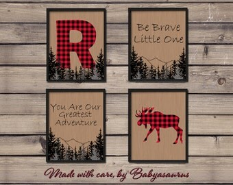 Lumberjack Wall Art - Set of 4 Prints - Personalized Letter of your choice - Rustic Nursery Wall Art - 8x10 - Printable