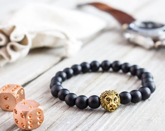 8mm - Matte black onyx beaded gold Lion head stretchy bracelet, made to order yoga bracelet, mens bracelet, womens bracelet