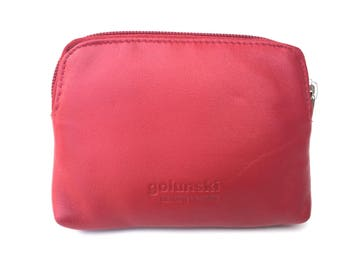 Quality Small Super Soft Leather Credit Card Holder Coin Zip Purse In Red.