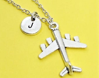 Custom airplane necklace, airplane charm, plane necklace, personalized, initial necklace, monogram, custom jewelry, aviation,airforce,gift