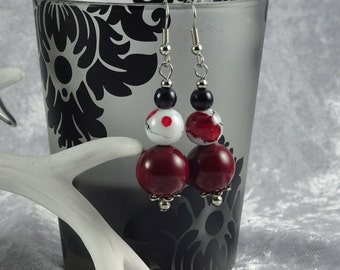 Handmade Red Blossom and Deep Red Earrings