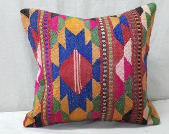 "Kilim Pillow, 1'3""1'3"" Feet 38×38cm Decorative Pillow, Cushion cover, Decorative Kilim Pillow, Pillow Cover, Throw Pillow, Tribal Pillow"