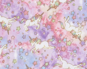 Unicorn Double Gauze fabric by Kokka with metallic print SK101