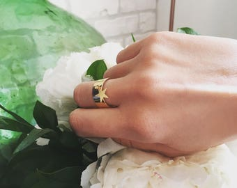 Ring with star mobile - gold plated silver