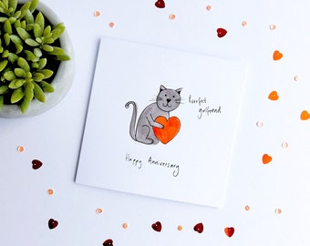 Purrfect WIFE / GIRLFRIEND cat card. Funny cat anniversary card. Cat anniversary card. Funny anniversary card. Anniversary cat card.