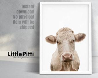 Cow print, farm animal print, cow wall art, farm nursery animal print, rustic farm print, farmhouse decor, farm cow print, large print, 5x7