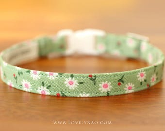 Daisy Cat Collar – Green