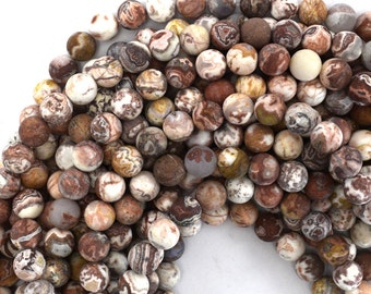 "8mm Matte Mexican crazy lace agate round beads 15"" strand 39162"