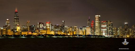 Chicago Blackhawks Skyline Canvas Wrap
