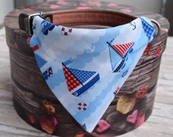 """Bandana """"Sea View"""" Bandanas for small or medium sized dogs cats , sailboat on blue background"""