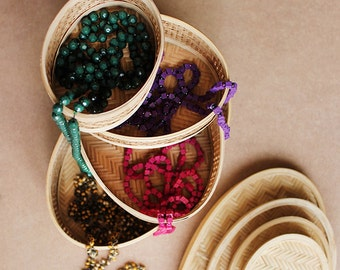Set Of 4 Handcrafted Wicker Baskets, Indian Handicraft, Handwoven Cane Baskets, Storage Baskets,