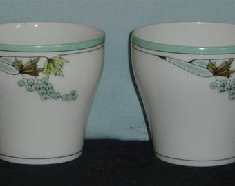 2 Vintage Porcelain Cups and Saucers with Grape Design - pre-owned