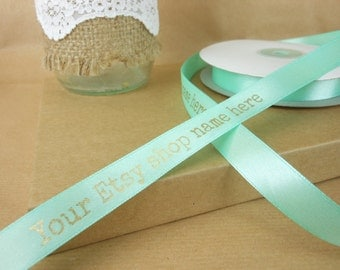 custom ribbon, 15mm satin ribbon, Mint Green,  printed ribbon, branded ribbon, personalized ribbon, logo ribbon, business branding