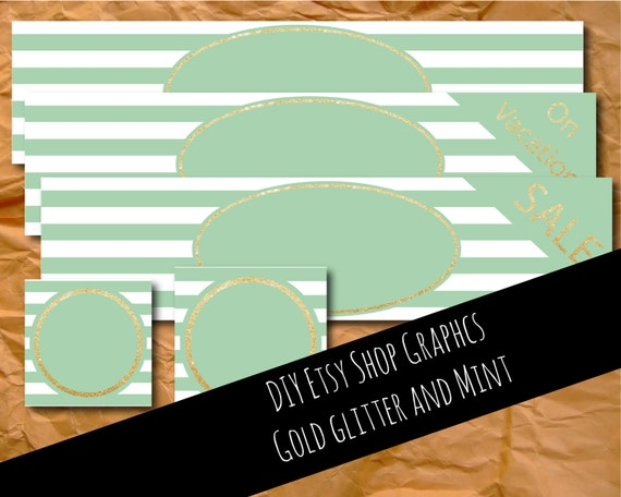 DIY, Etsy banner, Etsy graphics, mint and gold, glitter, graphics, Etsy template, Etsy images, Etsy photos, branding, digital