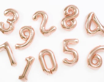 Rose Gold Number Balloons / Foil Mylar Balloons / Wedding / Birthday / Baby Shower / Bridal Shower / Bachelorette Engagement Party