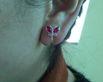 Clip Earrings, Earrings Silver Tone, Crystal Earrings 100% Handmade Jewelry E023