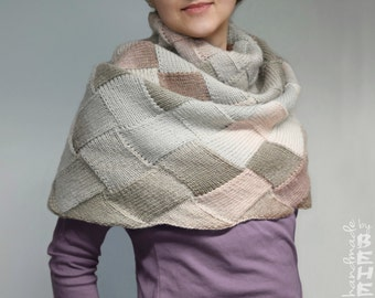 Hand-knitted entrelac multicolor shaded cowl/ neck warmer/ snood/ poncho/ capelet (silver, beige, ecru, champagne, pink, rosybrown, redwood)