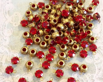 10 petite 3.7mm swarovski light siam ruby crystal drops in brass setting #rd15g-12