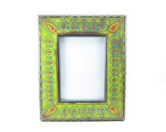 Photo Frame,Picture frame, Hand painted embossed,5 x 7 inches,India,Indian art,Ethnic,distressed finish. Multi color.