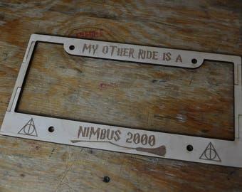Harry Potter License Plate Cover, Harry Potter Handmade, Harry Potter Accessories, Harry Potter Gift, Harry Potter Merch, Nimbus 2000