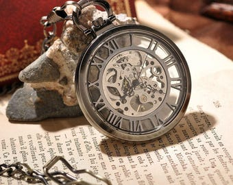 Skeleton Mechanical Analog Pocket Watch With Necklace Chain