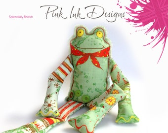 Frog sewing pattern.  Sew and create your own gorgeous fabric frog.