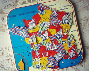 Geographical puzzle FRANCE and its departments - MOB - 1960 / fun game to learn geography