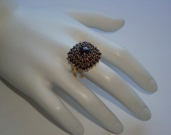 Victorian 3 Tier Rose Cut Garnet Vermeil Ring - 900 Silver  - 50 Garnets