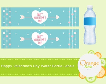 Happy Valentine's Day Water Bottle Labels, Valentine Drink Labels, Waterproof Labels, Valentine's Day Party Favors