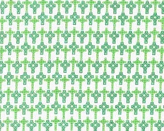 CELTIC CROSS FABRIC ! 1/2 Yard For Quilting / St Patricks Day