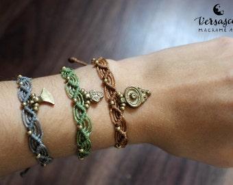 Macrame bracelet 'Esmeralda' grey or olive green
