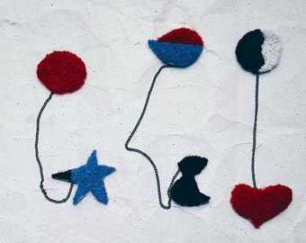 Double embroidered brooches buy brooch Miró