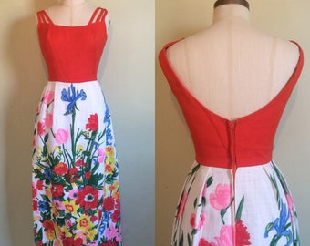 1960s Dress • Psychedelic Floral Print