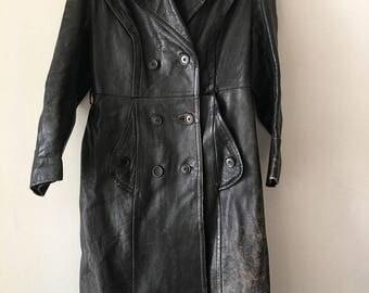 Modern Long Vintage Black Genuine Shabby Leather Coat Men's Size Medium.