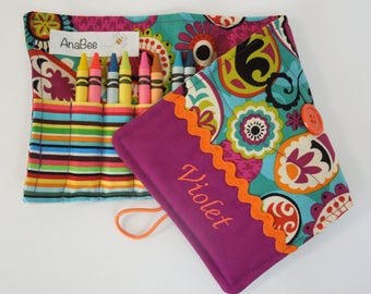 Personalized  Crayon Roll - Paisley, crayons INCLUDED, Crayon roll-up, Pencil case, 12+ crayons