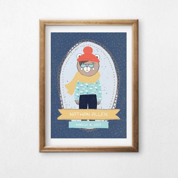 Printable Art, Hipster Winter Bear, Custom Name and Birthday, Hipster Bear, Children's Art, Nursery Decor, Digital Download Print