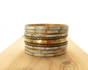 Bangle bracelet gold Bangle bracelet Bangle gold Bracelet gold 80s 80's Couples bracelet her Bold jewelry bracelet Vintage jewelry bracelet