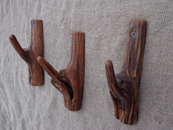 Unique Wooden Wall Hooks Set Of 3 Rustic Towel Hook By Woodber