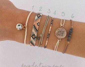 """Kit """"DIY"""" Collection 6 Bracelets - beige, gris clair et foncé, pêche (orange clair)  (miyuki, Swarovski, coton cité, facettes, rocailles)"""