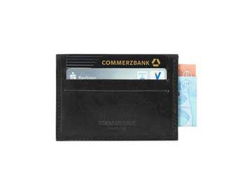 Credit Card Holder Leather in Black for Men   Gift for Men   Genuine Italian Leather Business Card Holder Wallet Small   Business Card Case