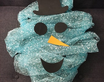 Blue Snowman Wreath
