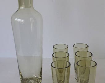 Vintage Liquor Decanter with 6 Glasses Olive Green Color