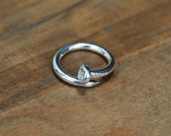 Silver Nail Ring Stackable Ring Sterling Silver 925 Minimalist Ring Stacking Nail Ring